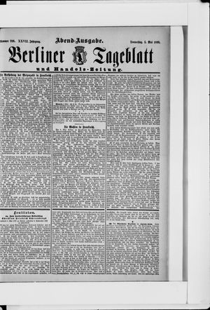 Berliner Tageblatt und Handels-Zeitung on May 5, 1898