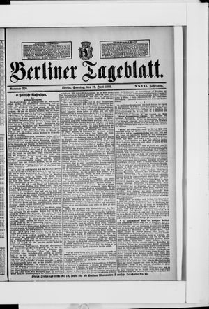 Berliner Tageblatt und Handels-Zeitung vom 19.06.1898