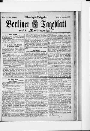 Berliner Tageblatt und Handels-Zeitung vom 02.01.1899