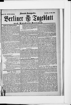 Berliner Tageblatt und Handels-Zeitung on Mar 16, 1899