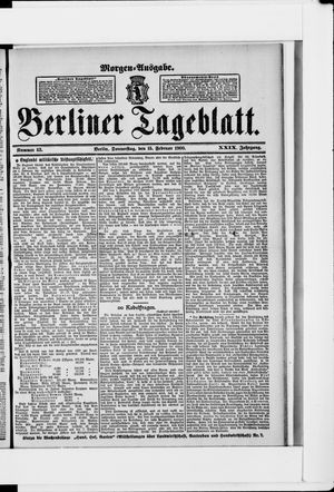 Berliner Tageblatt und Handels-Zeitung vom 15.02.1900