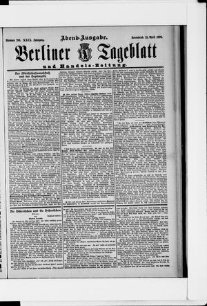 Berliner Tageblatt und Handels-Zeitung vom 21.04.1900