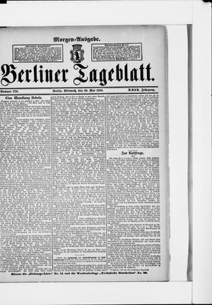 Berliner Tageblatt und Handels-Zeitung vom 30.05.1900