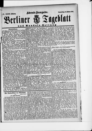 Berliner Tageblatt und Handels-Zeitung on Feb 12, 1903