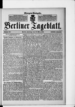 Berliner Tageblatt und Handels-Zeitung vom 27.03.1903