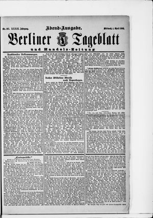 Berliner Tageblatt und Handels-Zeitung vom 01.04.1903