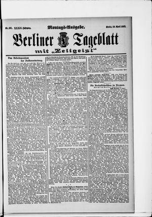 Berliner Tageblatt und Handels-Zeitung vom 20.04.1903
