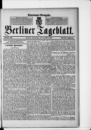 Berliner Tageblatt und Handels-Zeitung vom 10.05.1903