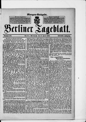 Berliner Tageblatt und Handels-Zeitung on Jun 3, 1903