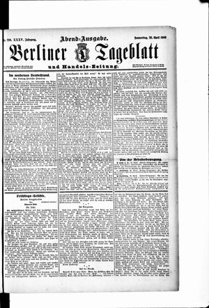 Berliner Tageblatt und Handels-Zeitung vom 26.04.1906