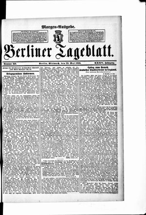 Berliner Tageblatt und Handels-Zeitung on May 23, 1906