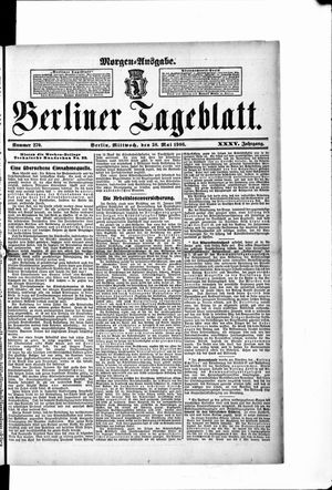 Berliner Tageblatt und Handels-Zeitung on May 30, 1906
