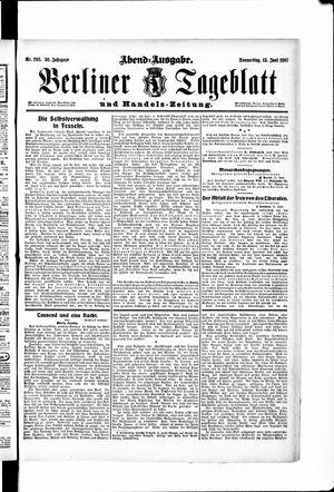 Berliner Tageblatt und Handels-Zeitung vom 13.06.1907