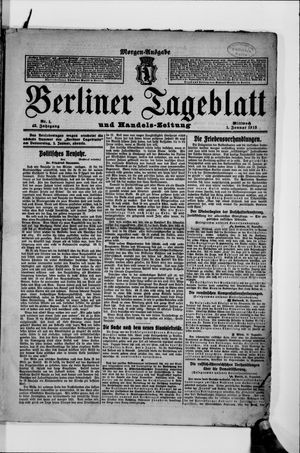 Berliner Tageblatt und Handels-Zeitung vom 01.01.1913