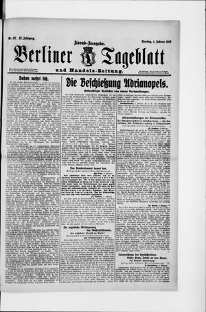 Berliner Tageblatt und Handels-Zeitung on Feb 4, 1913
