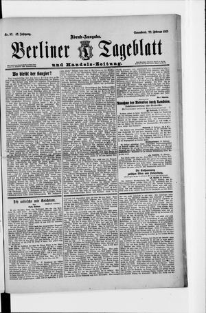 Berliner Tageblatt und Handels-Zeitung vom 22.02.1913