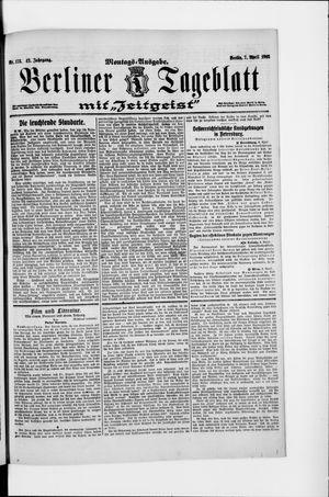 Berliner Tageblatt und Handels-Zeitung vom 07.04.1913