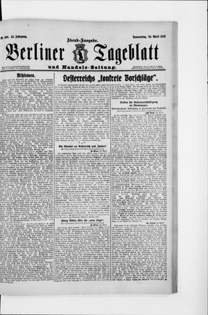 Berliner Tageblatt und Handels-Zeitung vom 24.04.1913