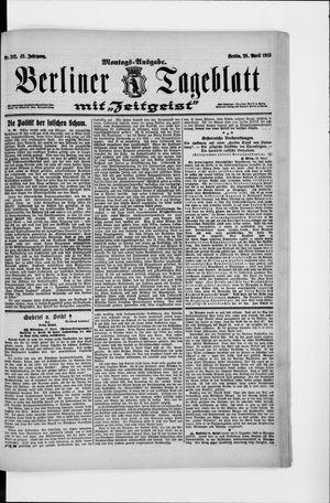 Berliner Tageblatt und Handels-Zeitung vom 28.04.1913