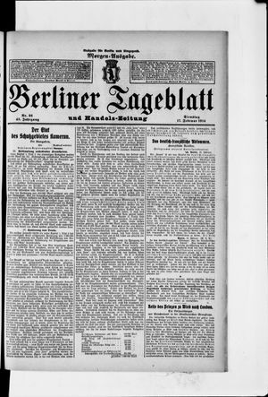 Berliner Tageblatt und Handels-Zeitung vom 17.02.1914