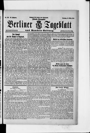 Berliner Tageblatt und Handels-Zeitung vom 10.03.1914