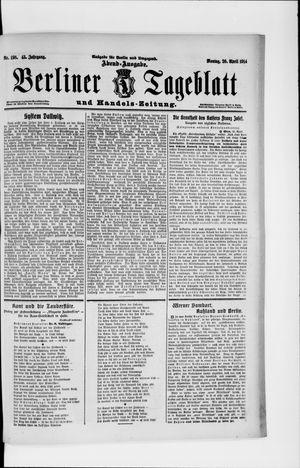 Berliner Tageblatt und Handels-Zeitung vom 20.04.1914