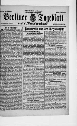 Berliner Tageblatt und Handels-Zeitung vom 27.04.1914