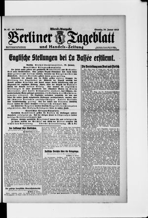 Berliner Tageblatt und Handels-Zeitung vom 26.01.1915