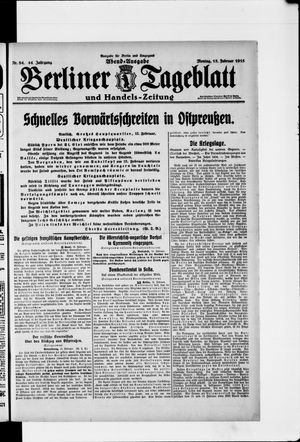 Berliner Tageblatt und Handels-Zeitung vom 15.02.1915