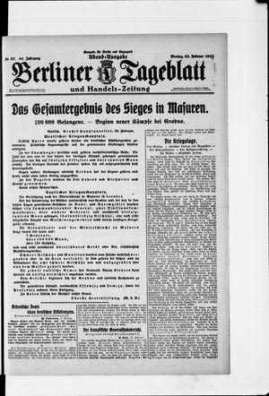 Berliner Tageblatt und Handels-Zeitung vom 22.02.1915