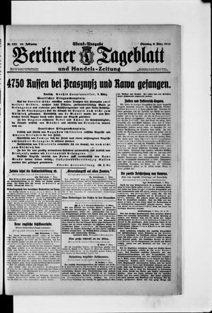 Berliner Tageblatt und Handels-Zeitung vom 09.03.1915