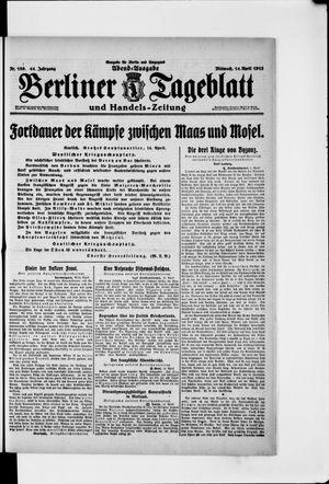 Berliner Tageblatt und Handels-Zeitung vom 14.04.1915