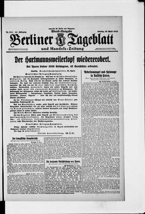 Berliner Tageblatt und Handels-Zeitung vom 26.04.1915