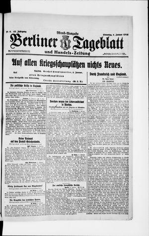 Berliner Tageblatt und Handels-Zeitung vom 04.01.1916
