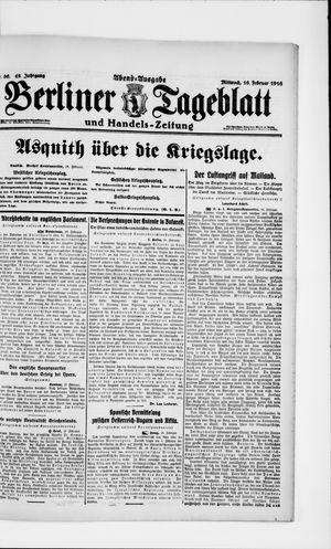 Berliner Tageblatt und Handels-Zeitung vom 16.02.1916