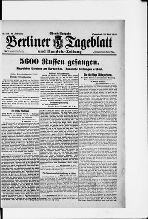 Berliner Tageblatt und Handels-Zeitung on Apr 29, 1916