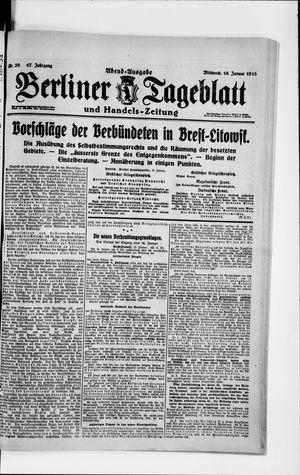 Berliner Tageblatt und Handels-Zeitung vom 16.01.1918