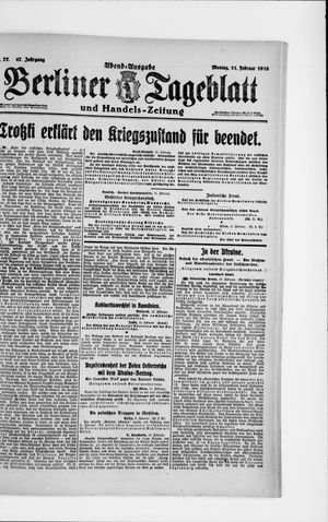 Berliner Tageblatt und Handels-Zeitung vom 11.02.1918
