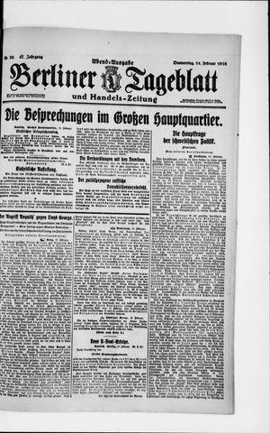 Berliner Tageblatt und Handels-Zeitung on Feb 14, 1918