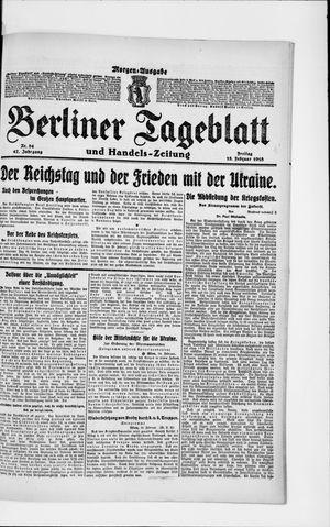 Berliner Tageblatt und Handels-Zeitung on Feb 15, 1918