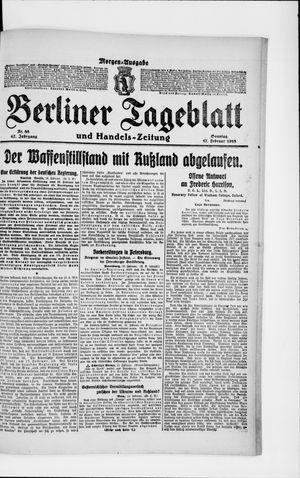 Berliner Tageblatt und Handels-Zeitung vom 17.02.1918
