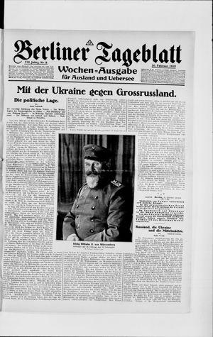 Berliner Tageblatt und Handels-Zeitung vom 20.02.1918