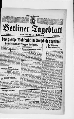Berliner Tageblatt und Handels-Zeitung vom 21.02.1918