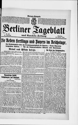 Berliner Tageblatt und Handels-Zeitung vom 26.02.1918