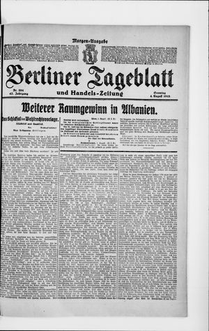 Berliner Tageblatt und Handels-Zeitung vom 04.08.1918