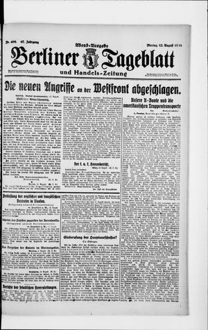 Berliner Tageblatt und Handels-Zeitung on Aug 12, 1918