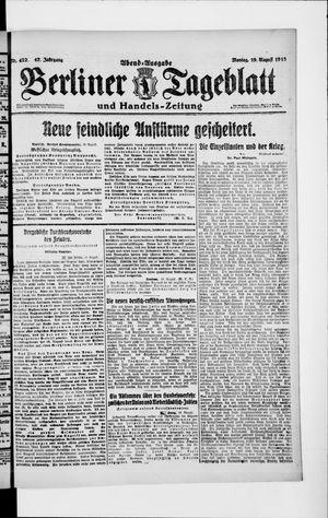 Berliner Tageblatt und Handels-Zeitung on Aug 19, 1918