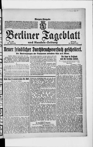 Berliner Tageblatt und Handels-Zeitung vom 21.08.1918