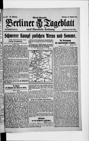 Berliner Tageblatt und Handels-Zeitung vom 27.08.1918
