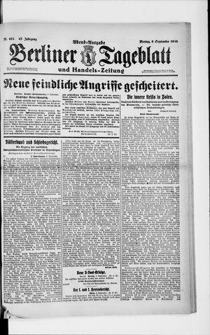 Berliner Tageblatt und Handels-Zeitung on Sep 9, 1918